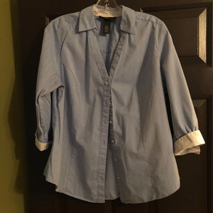 Lane Bryant Blue Button Down Shirt Size 14 Long Sl